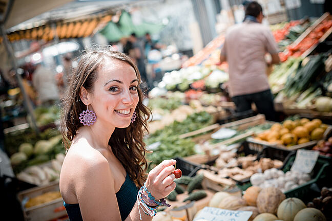 Woman at the market shopping