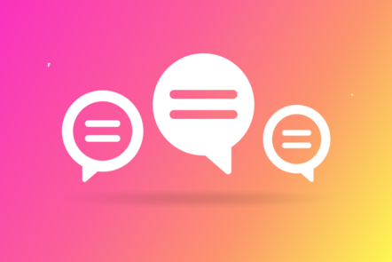 Illustration of speech bubbles suggesting a conversation.