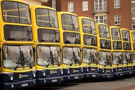 A row of Dublin Buses