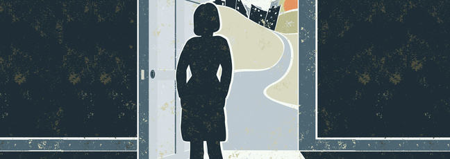 A woman stands in darkness at an open door