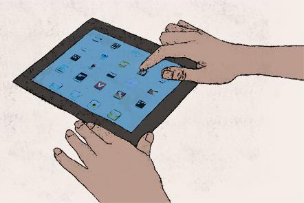 Illustration of a tablet computer.