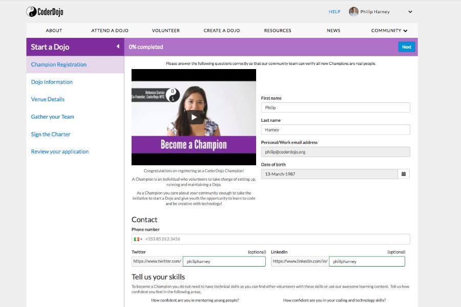 Screenshot of website page to register a Dojo