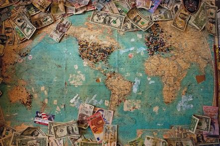 World map and money