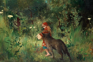 A painting of Little Red Riding Hood walking into a forest with a wolf alongside her.