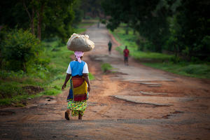 Yongoro, Sierra Leone - June 10, 2013: West Africa, the main road of Yongoro, village in front of Freetown