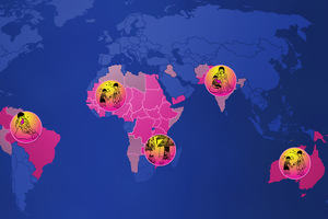 Map of the world highlighting those countries affected by trachoma