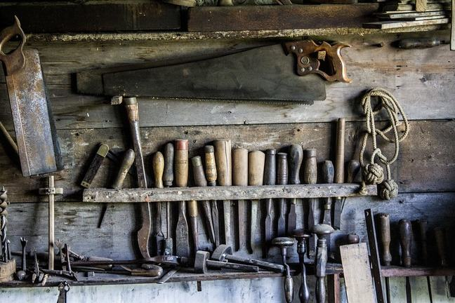 old tools in a garden shed