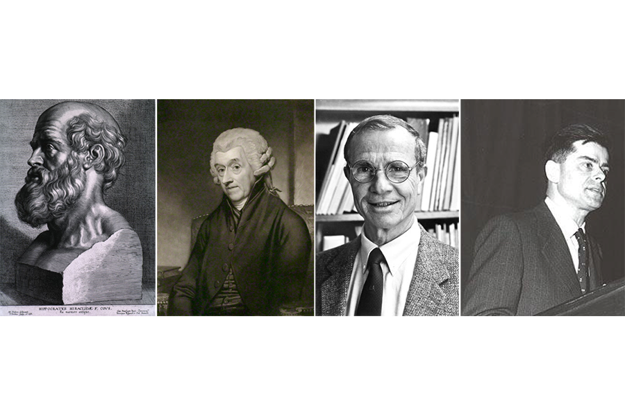 Images of Hippocrates of Kos, Dr William Heberden, Professor Ralph Paffenbarger and Professor Jeremiah Morris