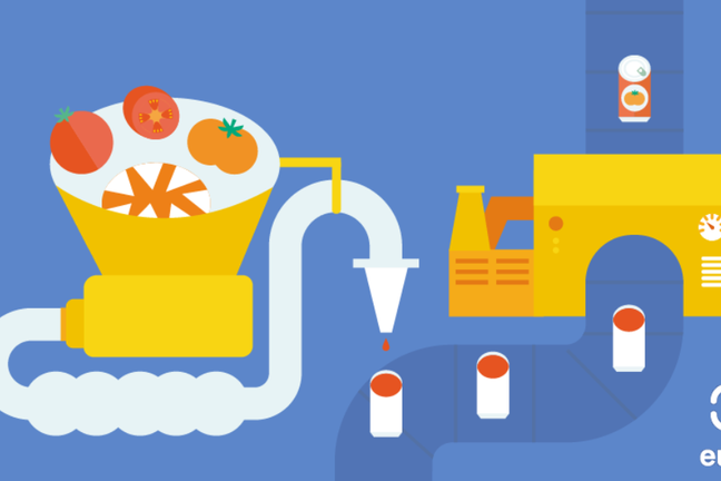 Infographic of an industrial food processing plant consisting of a vat containing tomatoes, connected via a pip to a spout delivering tomato juice to cans on a conveyor belt which enter a canning machine and emerge sealed and labelled.
