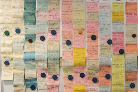 a wall full of colourful post-its