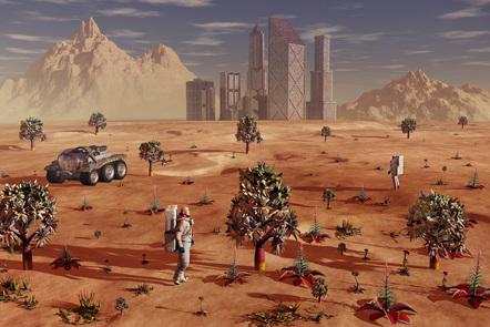 Depiction of settlement on Mars