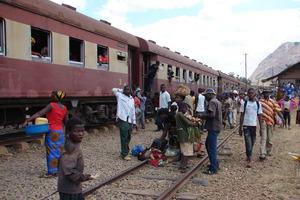Train at a station in Africa