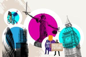 A stylised decorative image, containing images relating to law such as the London skyline, protestors, Lady Justice, and a cyclist barely missing a pedestrian.
