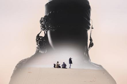 Silhouette of a person of superimposed over 4 people sitting on a sand dune