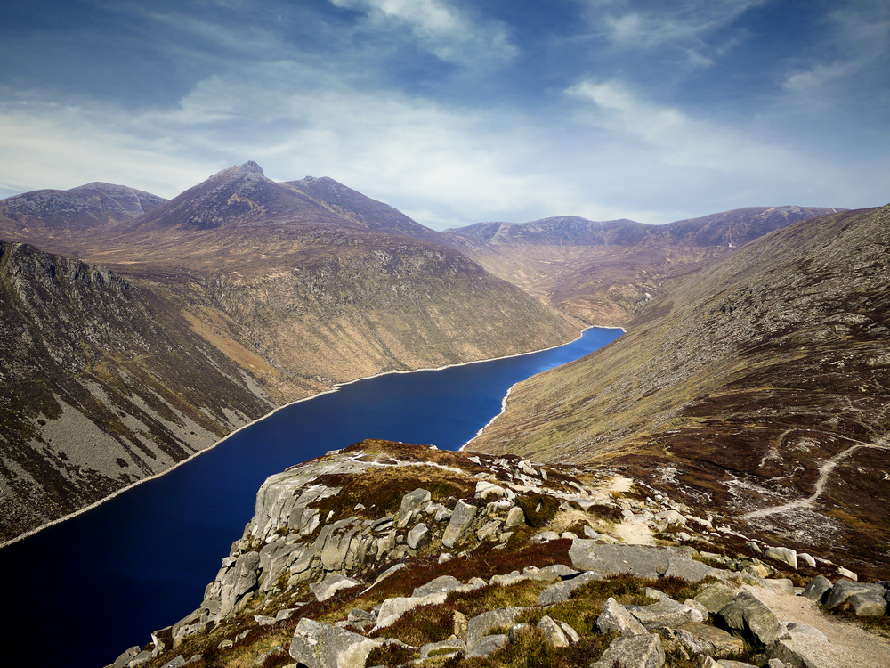 Mountains of Mourne, County Down, Northern Ireland: Ben Crom reservoir from Slieve Binnian.