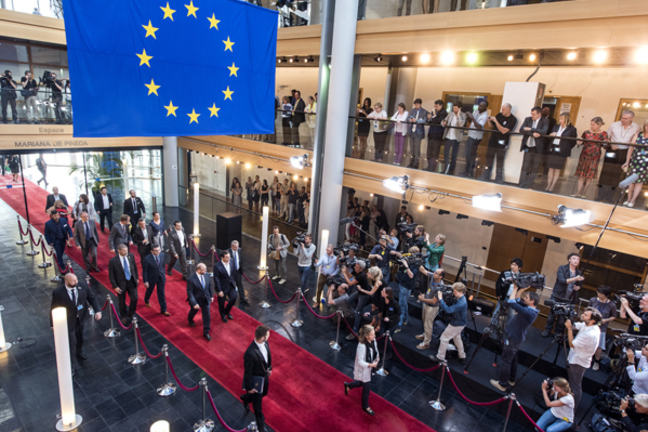 European Parliament Entrance Hall with EU Flag from the Rafters