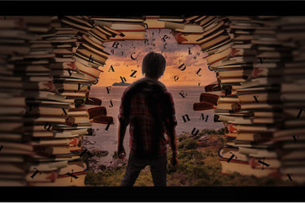 An artwork featuring a boy, viewed from behind, looking out of an archway-shaped gap in a wall to green vegetation with the sea and an island beyond. The wall is made entirely of books, with letters appearing to emerge from the wall and float away.