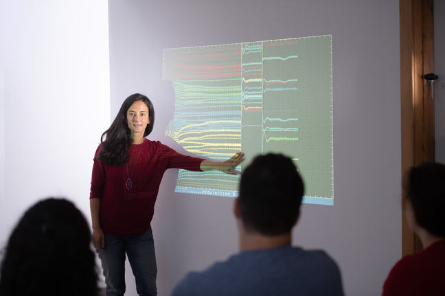 Researcher presents data on a screen to a group of students