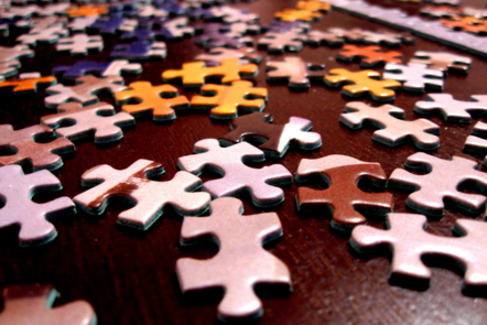 puzzle pieces on a table