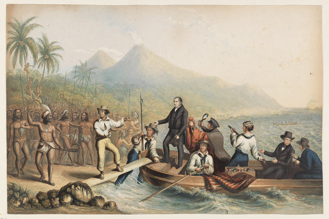 Man clothed in black coat and trousers stands about to disembark a small boat with others seated. Several islanders watch on, holding long sticks. Another man from the boat appears to stop the man in black from going further.