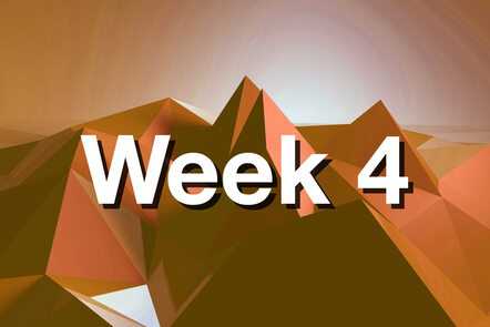 "Within orange mountain with ""week 4"" written on it."