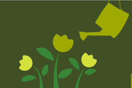Illustration of a watering can with flowers