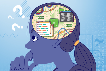 An image representing computational thinking, with computing code and hardware seen inside a person's head as they think