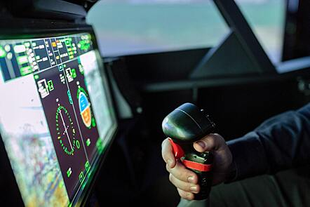 Person Controlling Flight Simulator