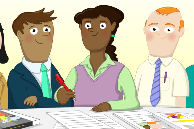 Cartoon image of teachers sat round a table