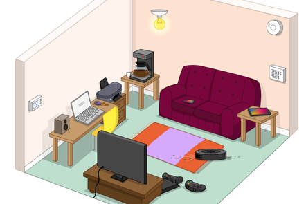 A room in a house with several examples of technology and computer systems, including a TV, games console, laptop computer, tablet, and a printer.