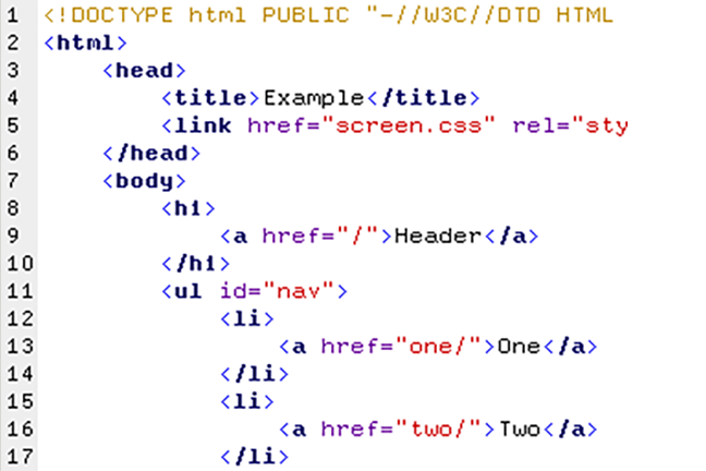 Image showing a HTML source code