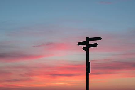 Sign post and sunset