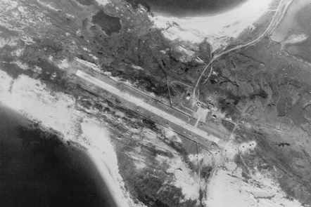 The runway at Port Stanley airport after one of the most famous bombing raids in the Cold War – one of the Black Buck raids during the Falkland War.