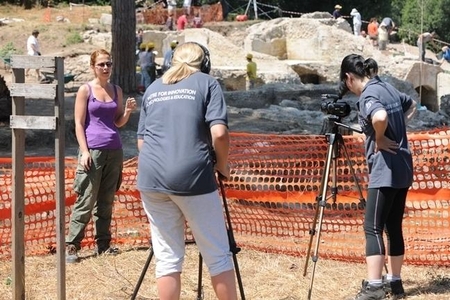 Dragana being filmed in front of the Imperial Palace excavations