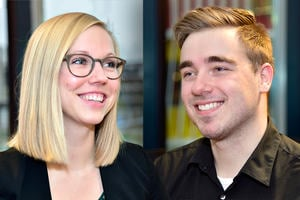 A picture of student assistant Rowanne and student assistant Jon
