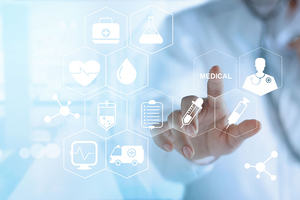Doctor touching white icon medical on virtual screen, medical technology network concept
