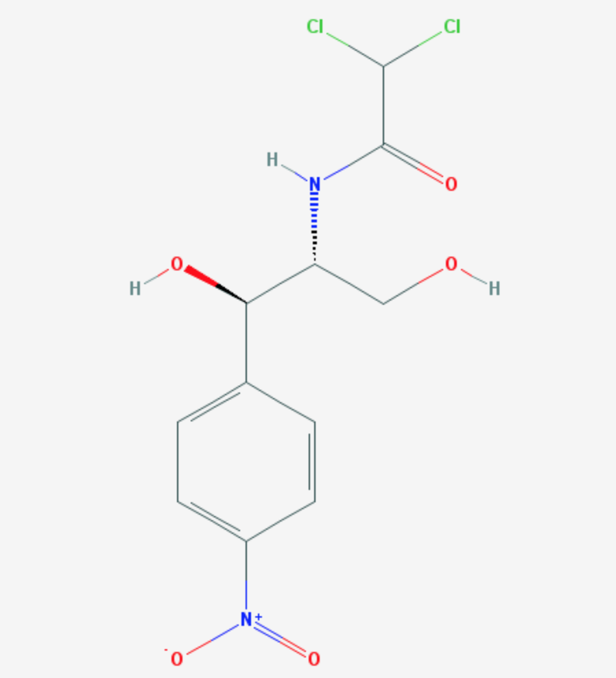 Chemical structure of Chloramphenicol