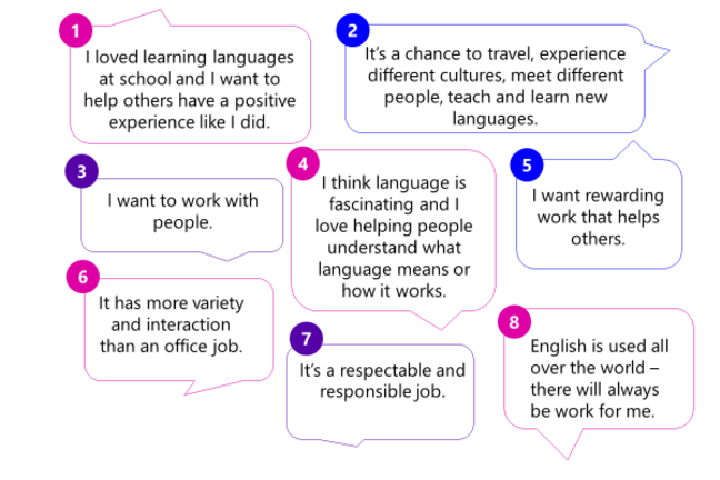 A selection of speech bubbles showing reasons people want to teach