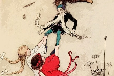 Vintage illustration of two girls and an eagle