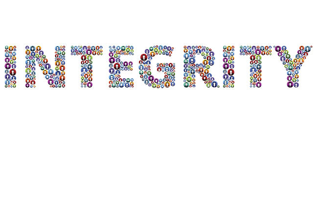 The word 'integrity' composed of small circular stylised images of people