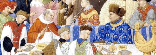 Medieval painting depicting a banquet
