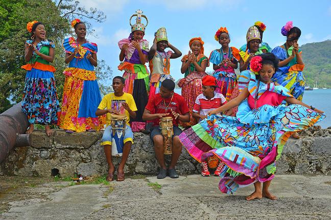 dark skinned children in festival attire