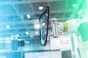 Factory robot arm holding a Perspex plate, blue and green digital background.