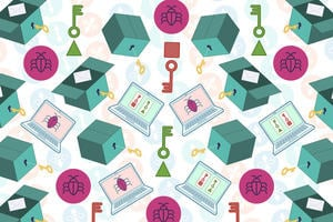 A collage of key illustrations that appear throughout the course representing the topic of Encryption - keys, boxes, envelopes, laptops