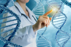 a person in a white coat and strands of DNA