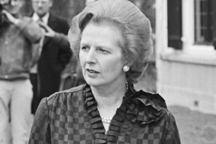 A black and white close up photograph of a Margaret Thatcher