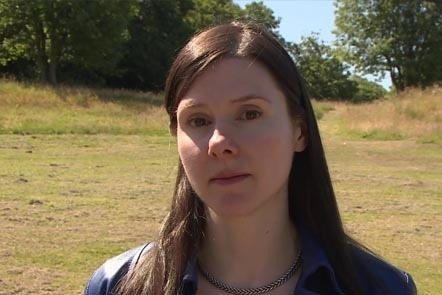 Fiona Edmonds on the site of the Roman fort