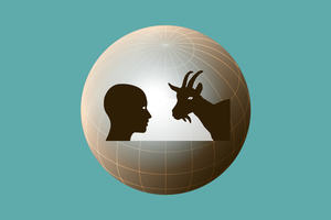 A human left looks at a goat right, in the backdrop the abstract globe of the earth