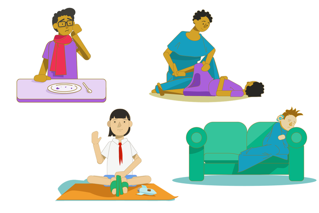 An illustration of our four case study characters. One teenage boy is holding his cheek. A girl is doing physio with her mother. Another girl is sitting and waving at us. A boy is wrapped in a blanket on the sofa.