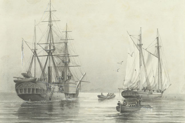 Two ships and two small rowing boats being rowed at sea. HMS Basilisk is stopping the 'blackbirding' (i.e. slaving) schooner 'Peri'